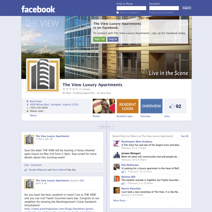 Facebook page we created for an Arlington, VA apartment community.
