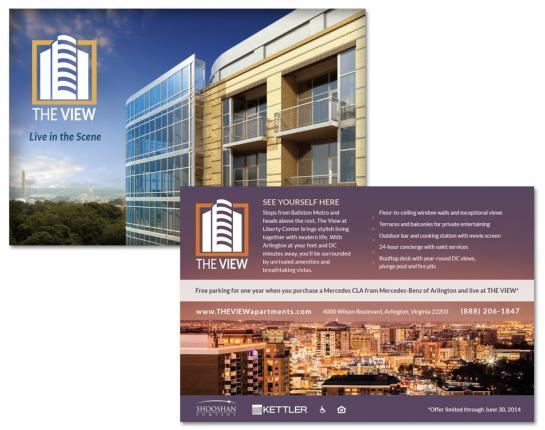 Postcard brochure we created for an Arlington, VA apartment community.