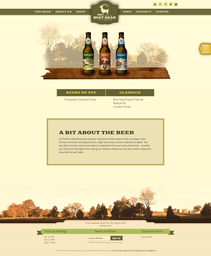 An overview subpage for beer, designed for a local brewery in Virginia