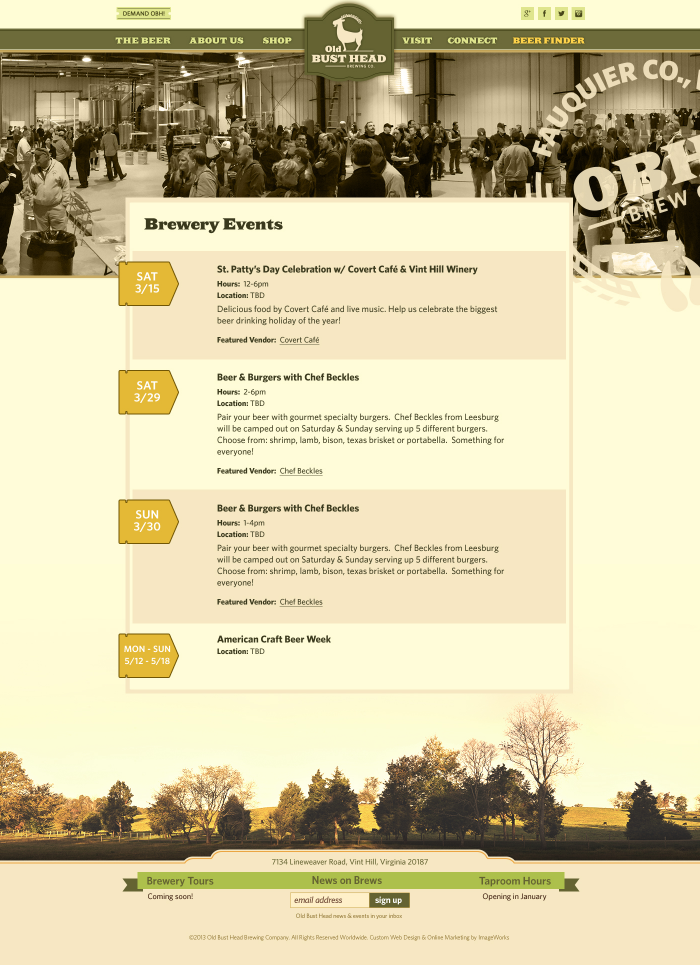 Page created to display brewery's events.