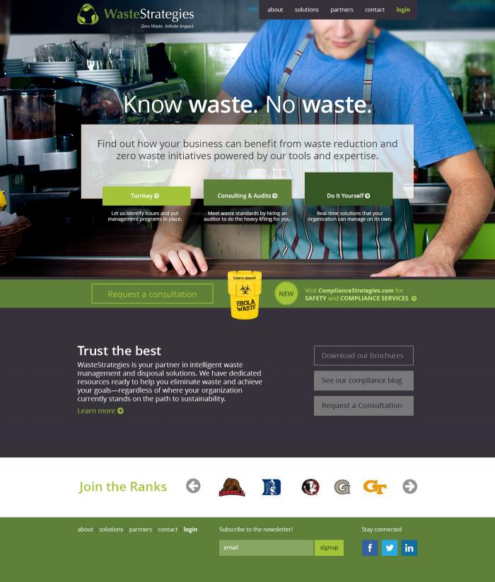Website homepage designed for a local waste management company.